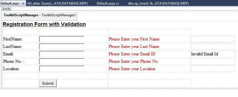 How To Make A Registration Form With Validation In Asp Net