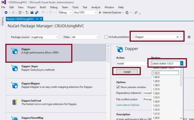 CRUD Operations In ASP NET MVC 5 Using Dapper ORM