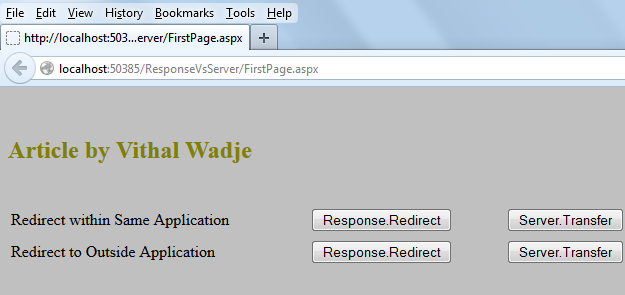 How do I Response.Write to the client page, then Response.Redirect to another server page?