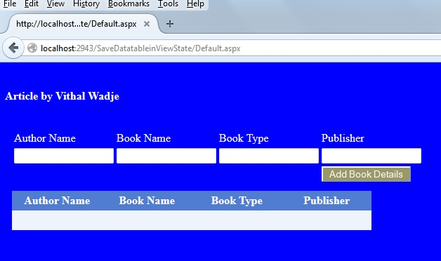 Save DataTable Into ViewState and Bind Gridview Using ASP Net C#
