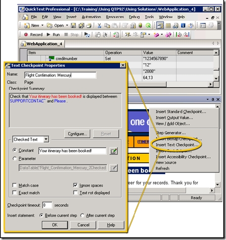Understanding the Text Checkpoint Properties Dialog Box in