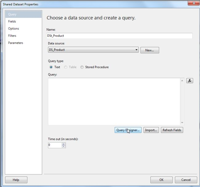 Creating report server project in business intelligence for Query design window