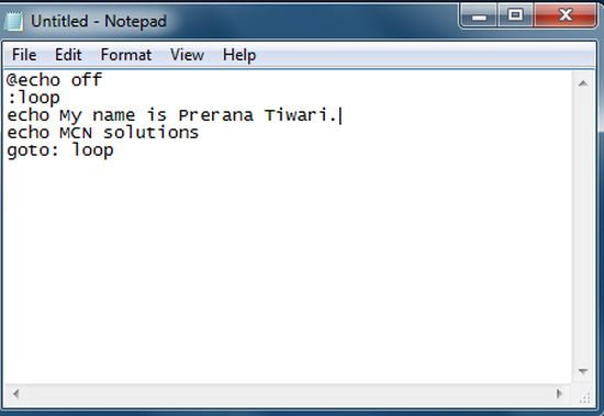 how to create a batch file from notepad