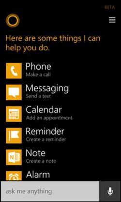 Using Cortana menu in windows phone