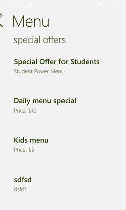menu of special offer