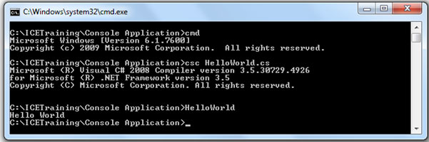 how to run a c console application through command prompt