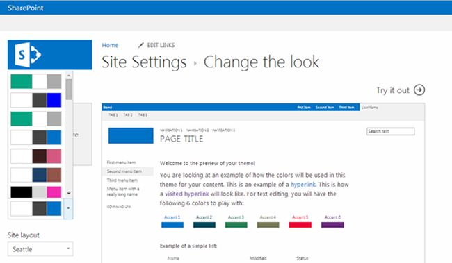 Sharepoint color slots