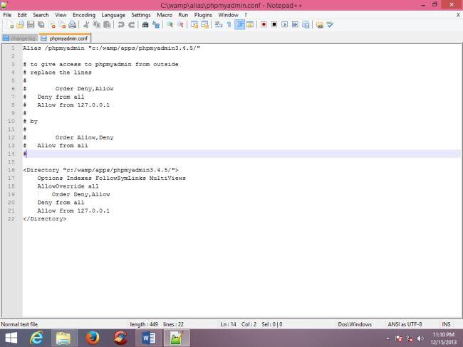 Open File phpmyadmin