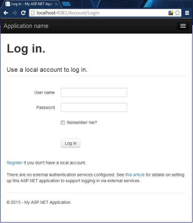 How to configure mvc 5 app login options for Login page template in asp net