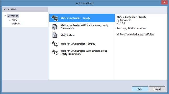 MVC - Controller Empty