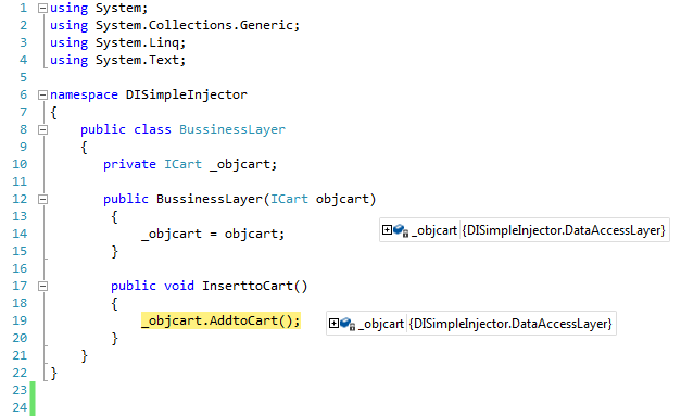 Dependency Injection Using Simple Injector