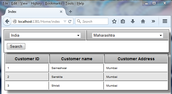 Filter Grid With Cascading Dropdownlist In MVC Using Razor