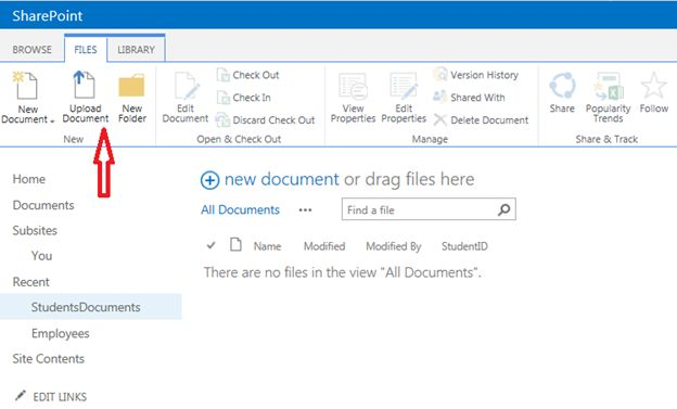 Upload document menu