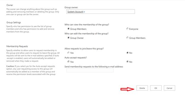 delete a group in SharePoint site