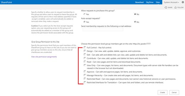 permission levels for SharePoint groups