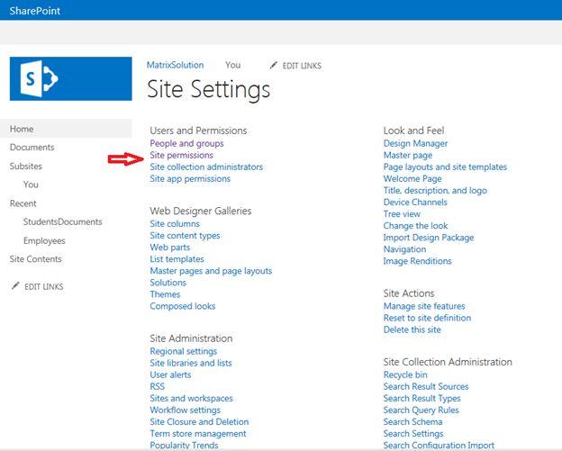 site permissions