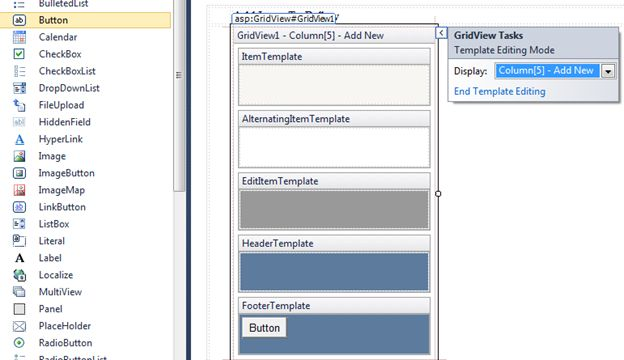 Footertemplate for Grid view templates in asp net