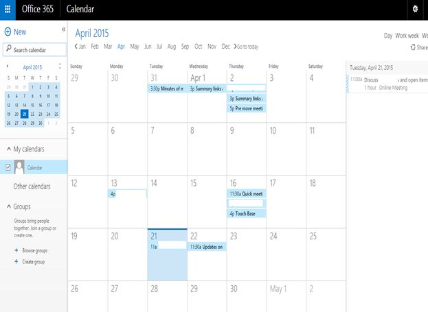 Office Calendar 365 : Calendar in sharepoint and office