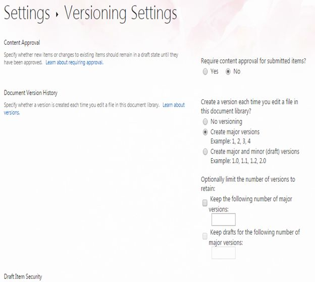 Versioning Settings