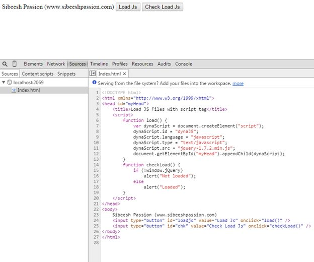 Browser console before loads JS