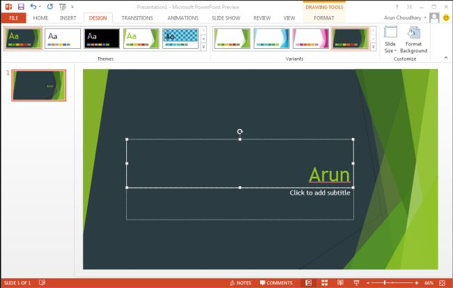 themes in powerpoint 2013