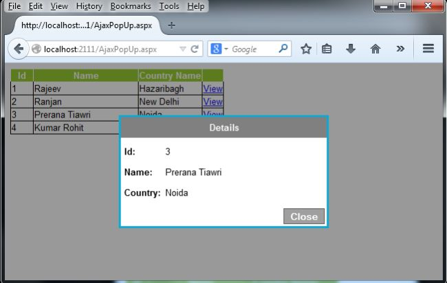 how to create a popup window using jquery in php