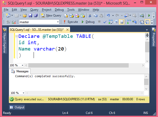 Sql declare table variable table variable in sql server for Table variable in sql server