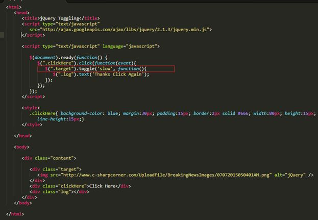 Jquery Toggle Hide Show Div Example