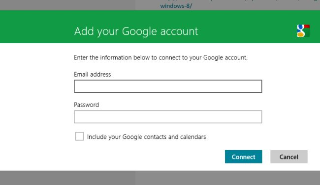 add gmail account to windows 8 mail app