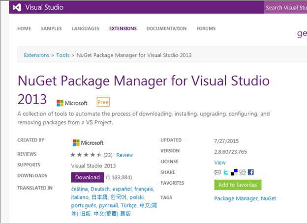 Use NuGet Package Manager In Visual Studio 2015