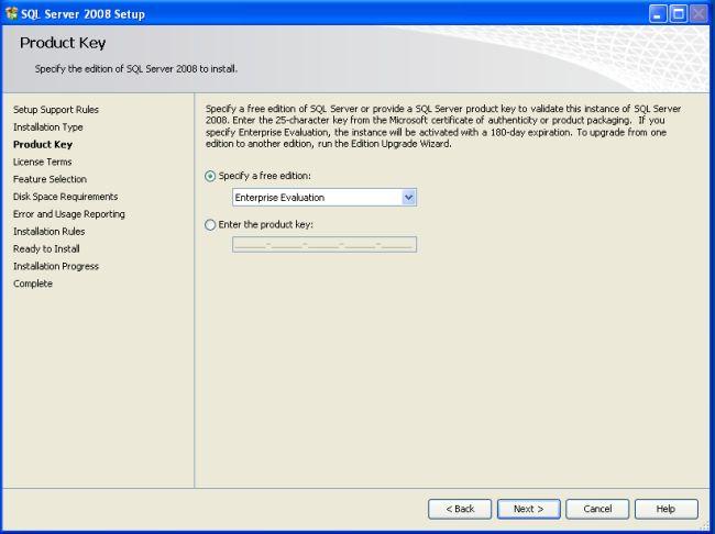 sql server 2008 enterprise evaluation edition product key