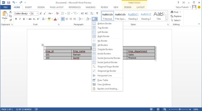 how to delete tables in word 2013