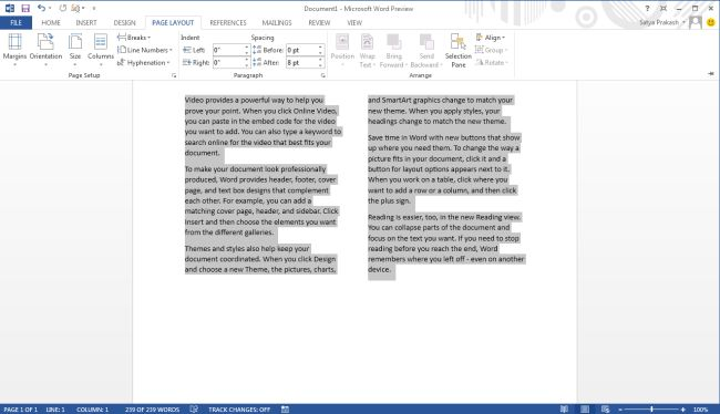 Multi Column Format Document In Word 2013