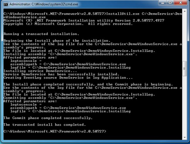 C# Windows Service Install Cmd