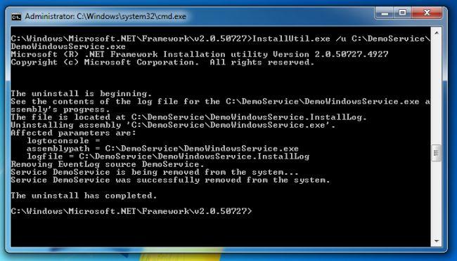 C# Windows Service Install Cmd