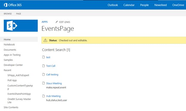 Events page in office 365