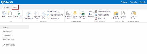 PAGE tab on your SharePoint Page