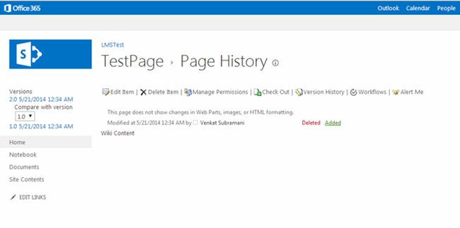 page history from ribbon in share point
