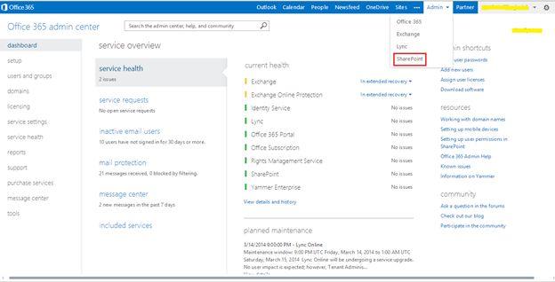 Selecting Admin on Portal