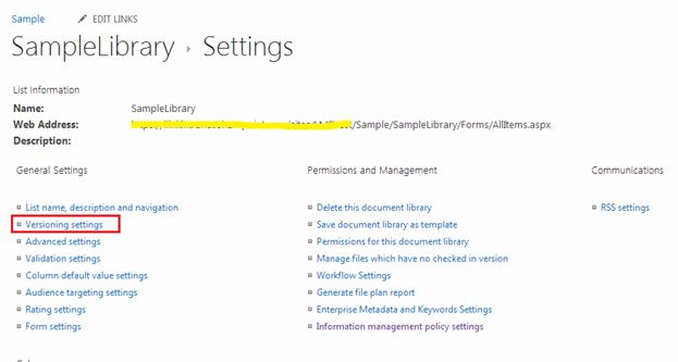 library settings page