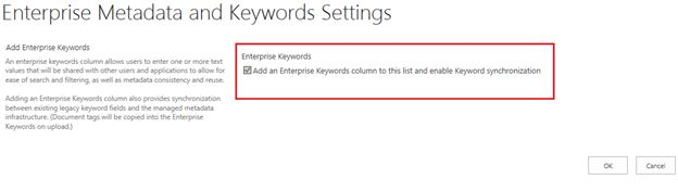 Add an Enterprise Keyword Column