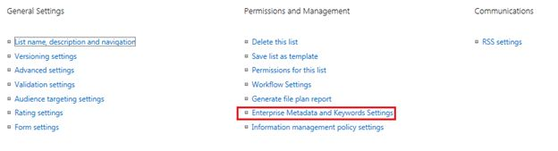 Select Enterprise Metadata from List