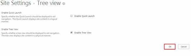 Enable Tree View option in sharepoint