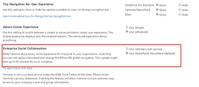 Enable Yammer Service in SharePoint Online