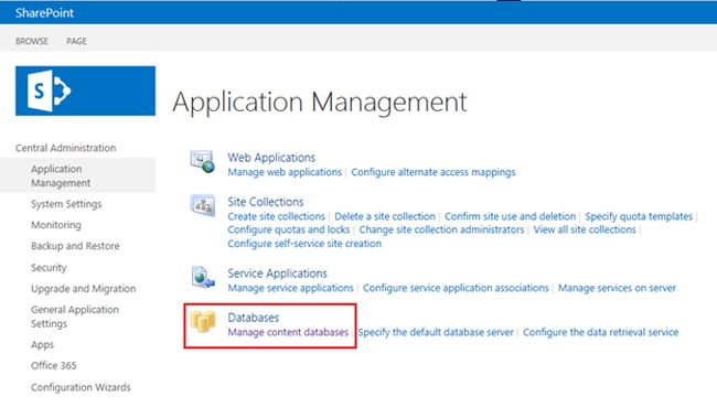 Databases section in sharepoint