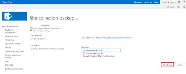 start backup option in sharepoint