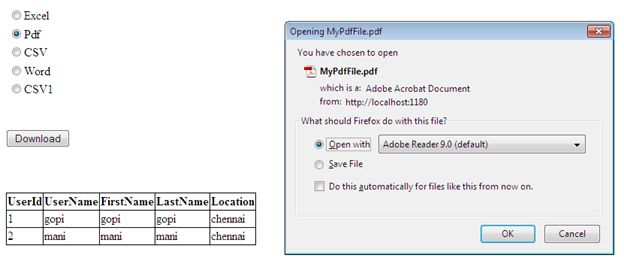 Selecting Radio button