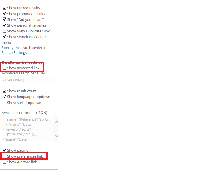 Hiding Advanced Search and Preference in SharePoint Search 2013