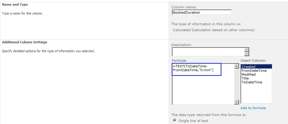 SharePoint 2013 Calculated column to display duration between two dates in Hour-Minute