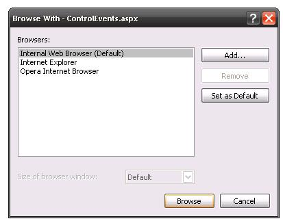 To Change the Default web browser to other Browser in Asp net